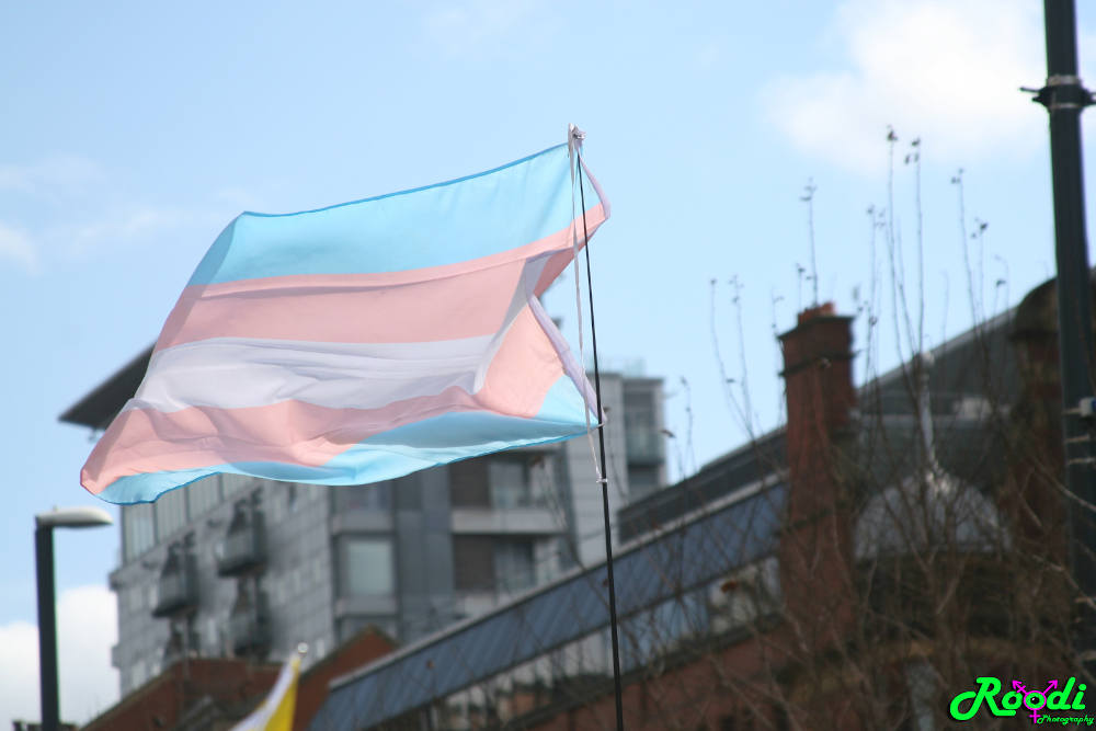 A trans flag flying in Leeds